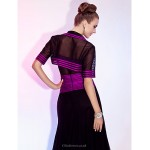 TS Couture Cocktail Party / Wedding Party Dress - Grape Plus Sizes / Petite A-line / Princess V-neck / Spaghetti Straps Tea-lengthTulle / Stretch Special Occasion Dresses