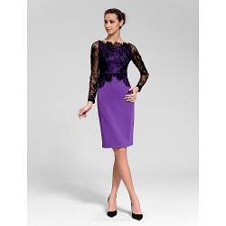 Cocktail Party Dress Multi Color Sheath Column Scalloped Knee Length Polyester