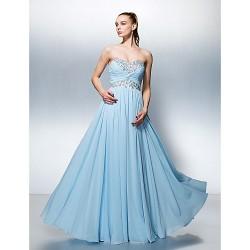 Formal Evening Dress Sky Blue Plus Sizes Petite A Line Sweetheart Floor Length Georgette