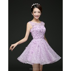 Cocktail Party Dress Ruby Lilac A Line Scoop Short Mini Lace