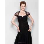 Fit & Flare Plus Sizes / Petite Mother of the Bride Dress - Black Floor-length Short Sleeve Tulle Mother Of The Bride Dresses
