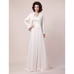 A-line Plus Sizes / Petite Mother of the Bride Dress - Ivory Sweep/Brush Train Long Sleeve Chiffon / Satin
