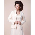 A-line Plus Sizes / Petite Mother of the Bride Dress - Ivory Sweep/Brush Train Long Sleeve Chiffon / Satin Mother Of The Bride Dresses