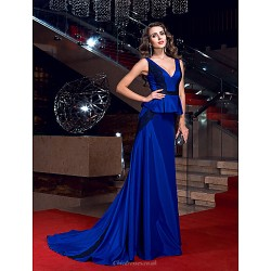 Formal Evening Dress Royal Blue Plus Sizes Petite Sheath Column V Neck Sweep Brush Train Stretch Satin