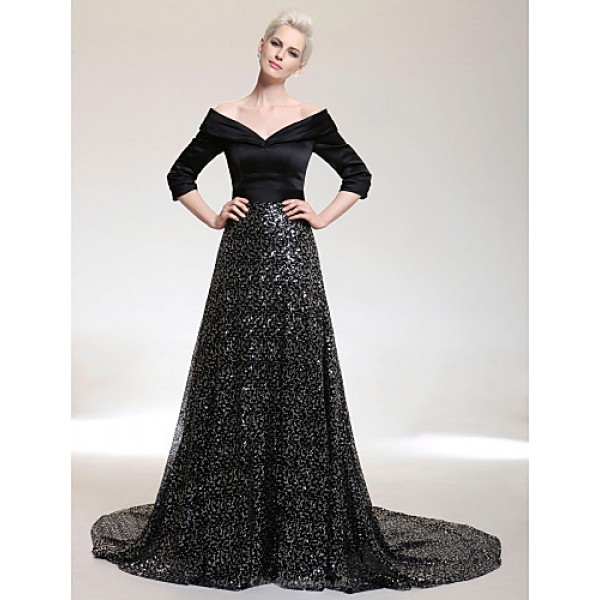 TS Couture Formal Evening Dress - Black Plus Sizes / Petite A-line V-neck / Off-the-shoulder Court Train Satin / Sequined Special Occasion Dresses