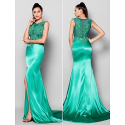 Formal Evening Dress Jade Plus Sizes Petite Trumpet Mermaid Jewel Court Train Satin