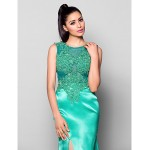 Formal Evening Dress - Jade Plus Sizes / Petite Trumpet/Mermaid Jewel Court Train Satin Special Occasion Dresses