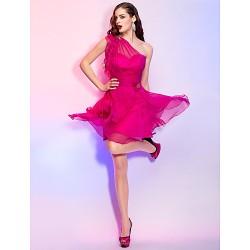 Cocktail Party / Homecoming / Holiday Dress - Fuchsia Plus Sizes / Petite A-line / Princess One Shoulder Short/Mini Chiffon