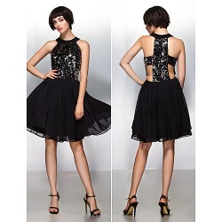 Cocktail Party Dress Champagne A Line Halter Knee Length Chiffon Sequined