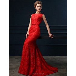 Formal Evening Dress - Ruby Trumpet/Mermaid Jewel Sweep/Brush Train Lace
