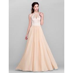 Floor Length Chiffon Satin Bridesmaid Dress Champagne Plus Sizes Petite A Line Jewel