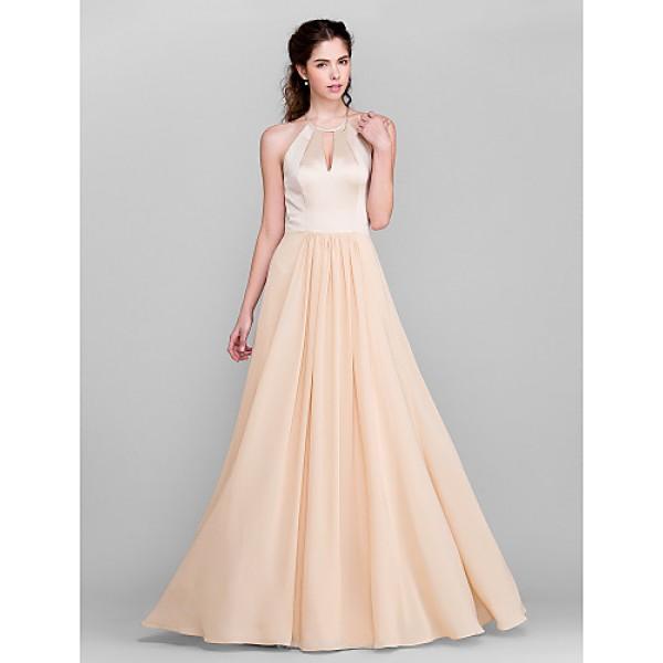 Floor-length Chiffon / Satin Bridesmaid Dress - Champagne Plus Sizes / Petite A-line Jewel Special Occasion Dresses