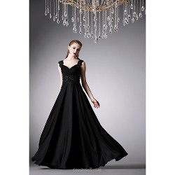 Formal Evening Dress Black A Line Sweetheart Floor Length Satin