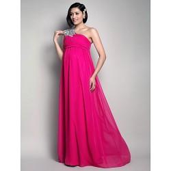 Formal Evening Wedding Party Dress Fuchsia Maternity Sheath Column One Shoulder Floor Length Chiffon