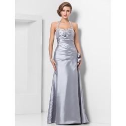 Formal Evening / Military Ball Dress - Silver Plus Sizes / Petite Sheath/Column Halter / Sweetheart Floor-length Taffeta