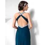 Formal Evening / Military Ball Dress - Ink Blue Plus Sizes / Petite Sheath/Column Halter Floor-length Chiffon Special Occasion Dresses