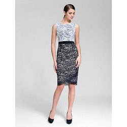 Cocktail Party Dress Multi Color Sheath Column Jewel Knee Length Polyester