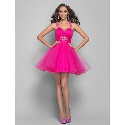 Prom Cocktail Party Dress Fuchsia Plus Sizes Petite A Line Princess Straps Short Mini Tulle