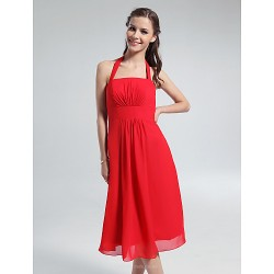 Knee-length Chiffon Bridesmaid Dress - Ruby Plus Sizes / Petite A-line Halter