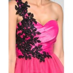 Cocktail Party / Homecoming / Holiday / Prom Dress - Fuchsia Plus Sizes / Petite A-line / Princess One Shoulder Short/Mini Tulle Special Occasion Dresses