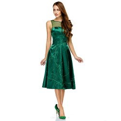 Cocktail Party Dress - Dark Green A-line Scoop Knee-length Charmeuse