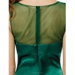 TS Couture Cocktail Party Dress - Dark Green A-line Scoop Knee-length Charmeuse Special Occasion Dresses
