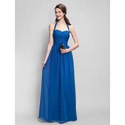 Floor Length Chiffon Bridesmaid Dress Royal Blue Plus Sizes Petite Sheath Column Halter