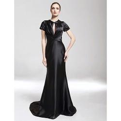 Formal Evening Military Ball Dress Black Plus Sizes Petite Trumpet Mermaid V Neck High Neck Sweep Brush Train Charmeuse