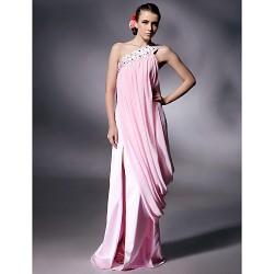 Prom Military Ball Formal Evening Dress Blushing Pink Plus Sizes Petite Sheath Column One Shoulder Floor LengthChiffon