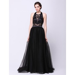 Formal Evening Dress Black A Line Halter Sweep Brush Train Satin Tulle
