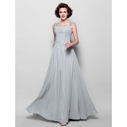 A Line Plus Sizes Petite Mother Of The Bride Dress Silver Floor Length Sleeveless Chiffon Lace