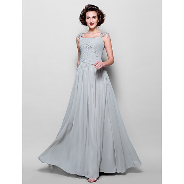 A-line Plus Sizes / Petite Mother of the Bride Dress - Silver Floor-length Sleeveless Chiffon / Lace Mother Of The Bride Dresses