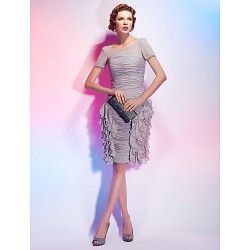 Cocktail Party Dress - Silver Plus Sizes / Petite Sheath/Column V-neck Knee-length Chiffon