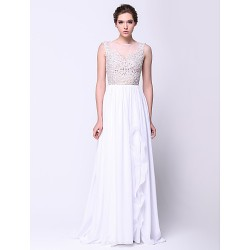 Formal Evening Dress - White A-line Scoop Sweep/Brush Train Chiffon / Lace / Tulle