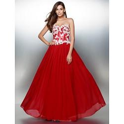 Formal Evening Dress Burgundy A Line Sweetheart Floor Length Chiffon