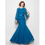 Trumpet/Mermaid Plus Sizes / Petite Mother of the Bride Dress - Ink Blue Floor-length Long Sleeve Chiffon Mother Of The Bride Dresses