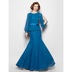 Trumpet/Mermaid Plus Sizes / Petite Mother of the Bride Dress - Ink Blue Floor-length Long Sleeve Chiffon