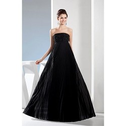 Formal Evening Dress - Black A-line Strapless Floor-length Satin