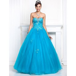 Prom / Formal Evening / Quinceanera / Sweet 16 Dress - Pool Plus Sizes / Petite A-line / Princess Sweetheart / Strapless Floor-length