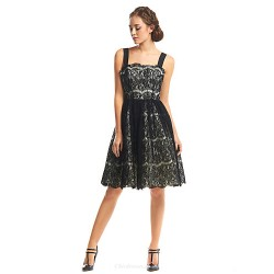 Cocktail Party Dress Black A Line Straps Knee Length Lace