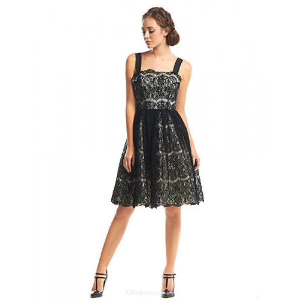 TS Couture Cocktail Party Dress - Black A-line Straps Knee-length Lace Special Occasion Dresses