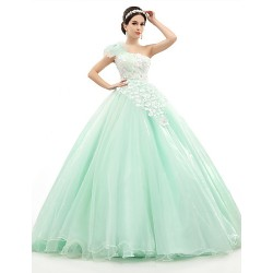 Formal Evening Dress Sage Petite Ball Gown One Shoulder Floor Length Organza Tulle Charmeuse