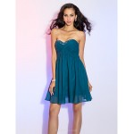 Cocktail Party Dress - Ink Blue Plus Sizes / Petite A-line Sweetheart Knee-length Chiffon Special Occasion Dresses