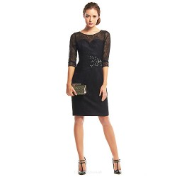 Cocktail Party Dress Black Sheath Column Scoop Knee Length Lace