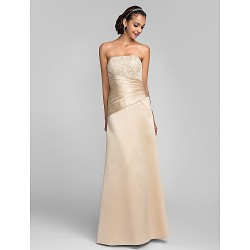 Dress Champagne Plus Sizes Petite Sheath Column Strapless Floor Length Satin Lace