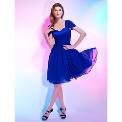 Cocktail Party Dress - Royal Blue Plus Sizes / Petite A-line / Princess Off-the-shoulder / Sweetheart Knee-length Chiffon / Stretch Satin
