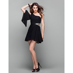 Cocktail Party Holiday Prom Dress Black Plus Sizes Petite A Line One Shoulder Short Mini Chiffon