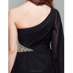 Cocktail Party / Holiday / Prom Dress - Black Plus Sizes / Petite A-line One Shoulder Short/Mini Chiffon Special Occasion Dresses
