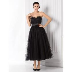Formal Evening Dress Black Plus Sizes Petite A Line Princess Sweetheart Tea Length Tulle