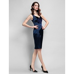 Cocktail Party Dress Dark Navy Plus Sizes Petite Sheath Column Straps Knee Length Velvet Stretch Satin